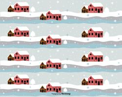 Cartoon House In Winter Vector Pattern