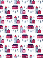 Winter Town Vector Pattern