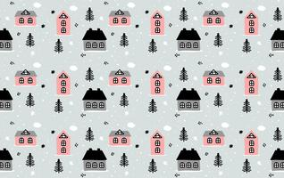 Hand Drawn Winter House Pattern