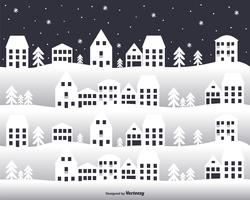 City In Winter Vector Background