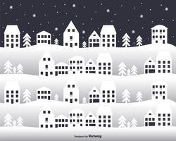 Città nel fondo di vettore di inverno