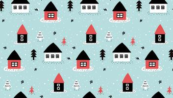 Doodle Winter House Pattern