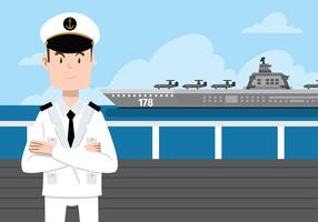 Vector libre del carácter del sello de la marina de guerra