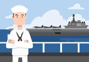 vector libre uniforme del carácter del sello naval