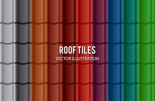 Set Of Different Color Roof Tile vector