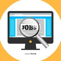 Flat Style Illustraion van Job Search op Computer