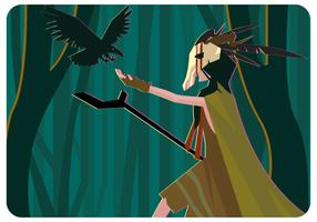 Sciamano Girl and Crow Vector
