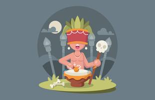 Shaman Doing Ceremony Illustration