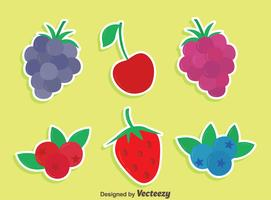 Flat Berries Collection Vector