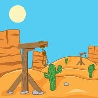 Wild West With Gallows Vector Background