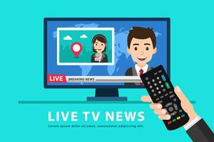 Holding Remote Control And Watching Tv News vector