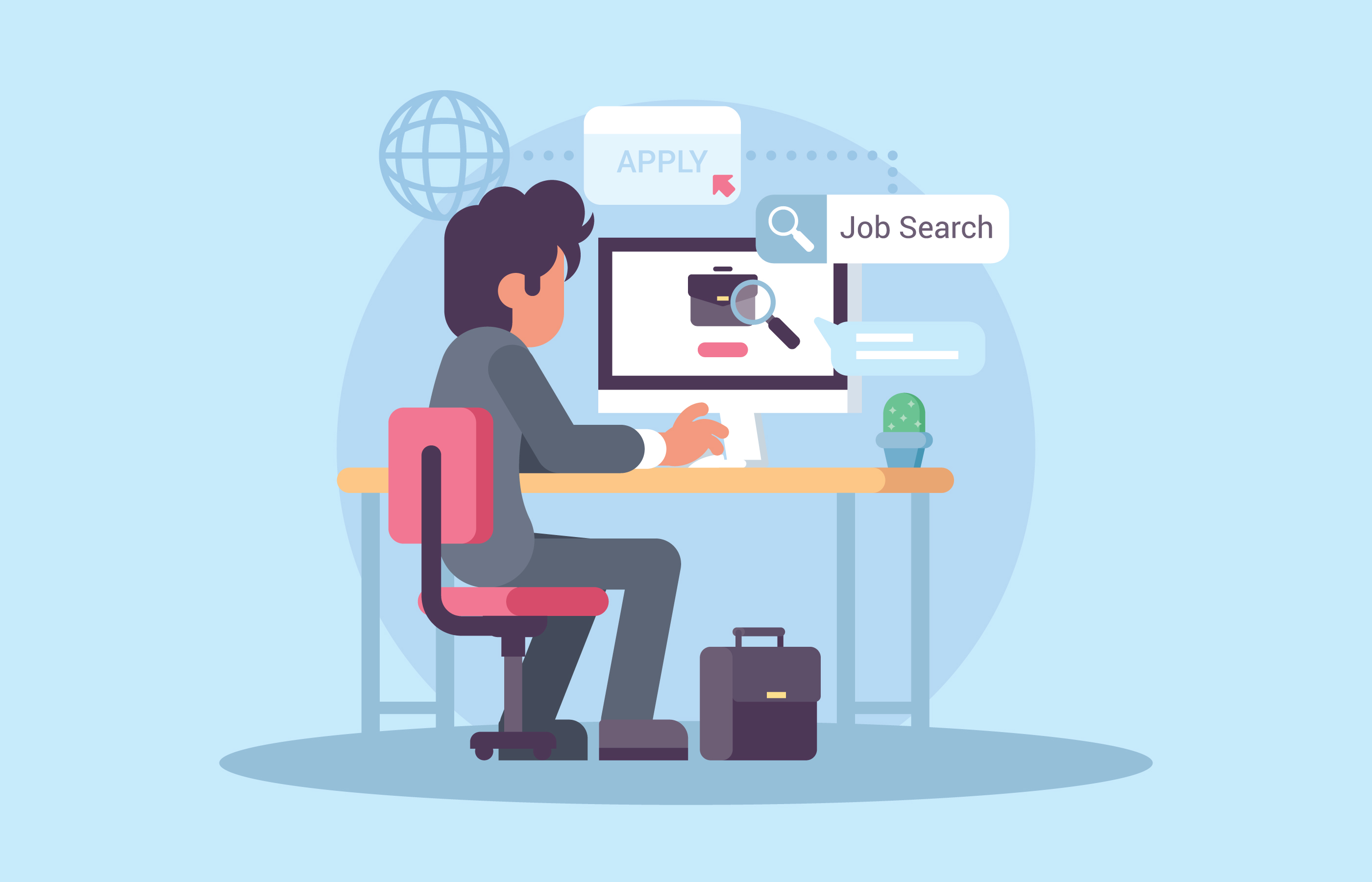 Young Man Searching For Jobs Download Free Vectors Clipart Graphics Vector Art