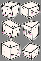 Icônes de fromage Tofu Vector avec des visages mignons
