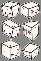 Ícones de queijo tofu de vetor com caras bonitas