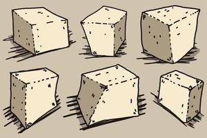 Vector Tofu Cheese Cartoon Style Illustration