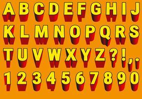 Vector rood en geel 3d lettertype