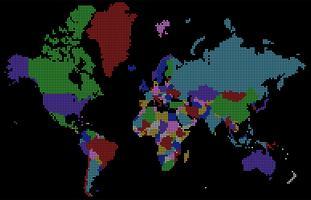 Vektor prickad mångfärgad världskarta