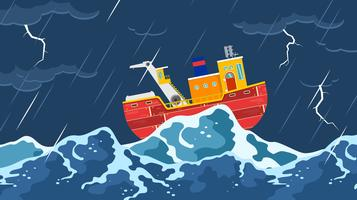 Trawler In A Storm Free Vector
