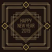 Art Deco Style Vector New Year Illustration