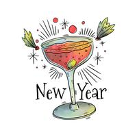 New Year Cocktail Vector