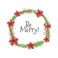 Cute Christmas Wreath With Quote  vector