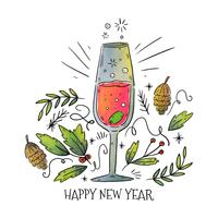 New Year Champagne Vector
