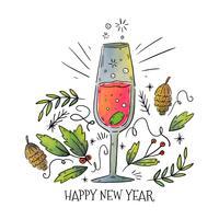 Año nuevo Champagne Vector