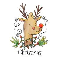 Rudolph le vecteur de renne au nez rouge