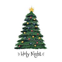 Helig natt julgran vektor