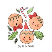Joy to the World Gingerbread Vector
