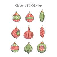Collection de boules de Noël aquarelle