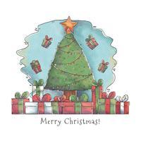 Lindo árbol de Navidad con regalos Vector
