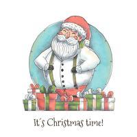 Lindo personaje de Santa con el vector de regalo de Navidad