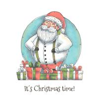 Cute Santa Character with Christmas Gift Vector