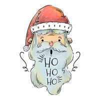 Cute Santa Head With Ho Ho Ho Text for Christmas Vector