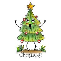Cute Smiling Christmas Tree Vector