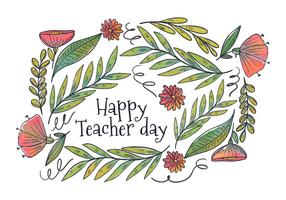 Flores e folhas de aquarela para o vetor do dia do professor