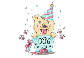 Cute Dog With Party Hat And Gift Box vector