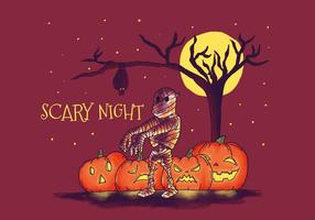 Scary Mummy With Pumpkins Vector