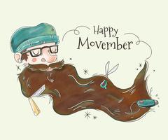 Gullig man med lång mustasch för Movember Vector