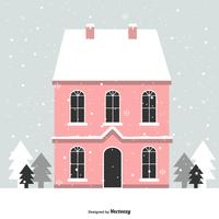 House In Winter Vector