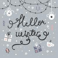 Handdragen Hello Winter Vector