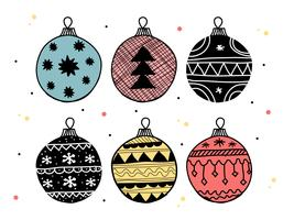Doodle conjunto de vectores de bolas de Navidad