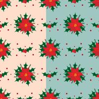 Red Poinsettia-Vektor-Muster