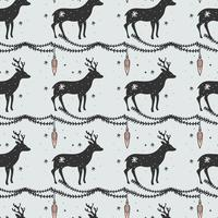 Deer Christmas Vector Pattern
