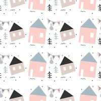 Abstract Holiday House Vector Pattern