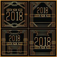 Vector Art Deco New Year Cards