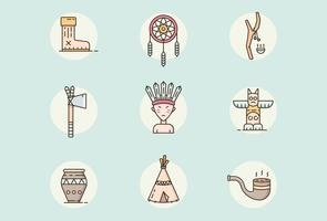 Indian, Native American Icons vector
