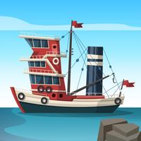 Red Tawler Boat Vector Flat Illustration