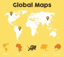 Pacote de vetor de mapas globais